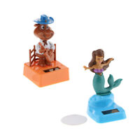 2Pcs Solar Powered Car Dashboard Figure Dancing Toy Mermaid & Little Ox