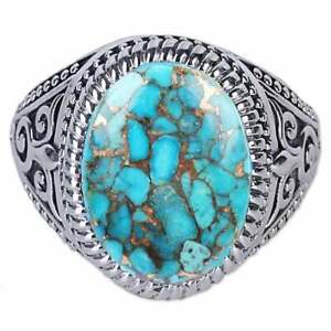 7Cts Turquoise Gemstone Handmade 925 Solid Sterling Silver Genius Unisex Ring