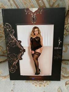 Size 18-22 XL+ Decorative Sexy Black Hold Up Stockings Ballerina PRIVATE LISTING