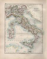 1904 Antik Landkarte ~Italien~ Sardinien Sizilien Malta ~ Kalabrien Toskana ROM