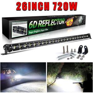 "26inch 720W LED Slim Work Light Bar Spot Flood Combo OffRoad Driving SUV 4x4 25"""