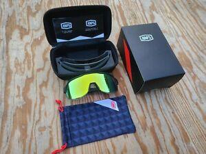 100% S2 Sunglasses Black - Yellow Mirror Lens - Cycling Sport Performance