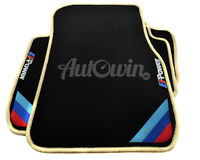 BMW 7 Series F01 Black Floor Mats Beige Rounds With ///M Power Emblem With Clips