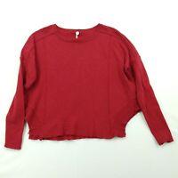 Margaret O'Leary Red Sweater Shirt S Lightweight Knit Boxy Drop Shoulder Hip Hem