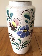 Vintage Tall Mid Century West German Pottery Vase Cream Mottled Floral Country