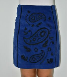 Boden Aline Blue Navy Skirt Embroidered Spring Summer Smart Casual Size 10 12 AK