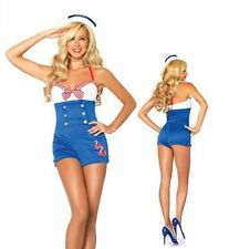 ADULT SEXY SHORTS PLAYSUIT MILITARY SAILOR GIRL CAPTAIN OUTFIT FANCY DRESS Sale!