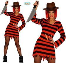Ladies Halloween Scissor Lady Fancy Dress Costume Womens Freddy type Outfit fg