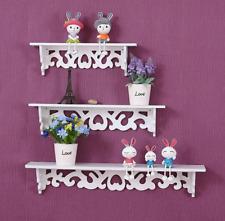 3 White Set of Floating Wall Shelves Display Storages Shelf Wall Wood Unit Rack