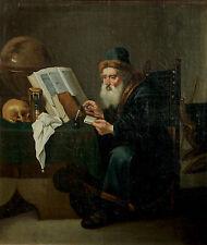 GEMÄLDE DOMINICUS VAN TOL GELEHRTER MIT BÜCHERN SANDUHR TOTENKOPF HOLLAND 1670