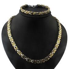 Men Hip Hop Stainless Steel Gold Silver Byzantine Chain Necklace & Bracelet Set