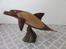 Vintage Wood Wooden Carved Dolphin Figurine Statue Ocean Sculpture on Stand