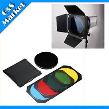4 Color Barn Door + Honeycomb for Photography Flash Studio Flash Bowens Mount