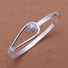 fashion Women cute lady silver plated flower wedding bangle bracelet jewelry hot
