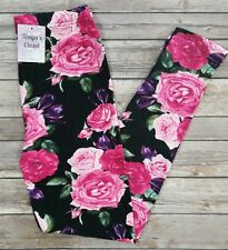 Pink Rose Floral Leggings Pink Purple Green Print One Size OS