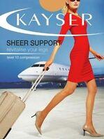 Kayser Stockings Pantyhose Sheer Support Natural Black Medium Tall Extra Tall