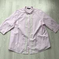 BNWT Bonmarche Pink Candy Stripe 3/4 Sleeve Blouse Lace Trim Plus size 24 Z5