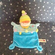 NICOTOYS Blue Girl Velour Baby Blanket Blankie Comforter Soft Plush Toy