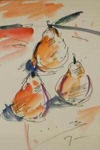 JOSE TRUJILLO ORIGINAL Watercolor Painting Expressionism 6x9 Pear Still Life Art