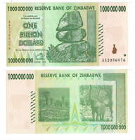 UNC ZIMBABWE $1 Billion Dollars (2008) P-83 from the $100 Trillion bill series