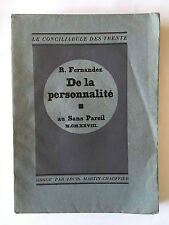 DE LA PERSONNALITE 1928 FERNANDEZ EO AU SANS PAREIN CONCILIABULE CHAUFFIER