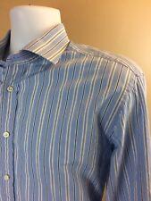 Ralph Lauren Purple Label Mens Blue Strip Dress Shirt Sz XL