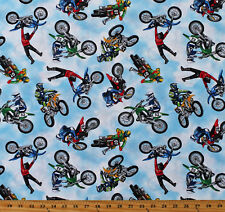 Cotton Dirt Bikes Motorcross Motorcycles Bikers Cotton Fabric Print Bty D668.52