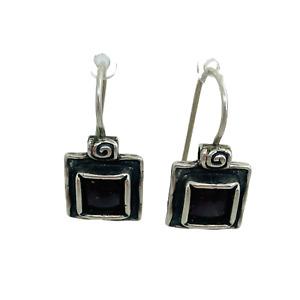 Silpada Retired .925 Silver Bezel Set Garnet Cabochon Square Earrings W1052