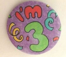 """Metal 1 1/2"""" Pin Button """"I'm 3"""" Button Jewelry"""