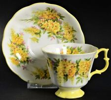Vintage Royal Albert Tea Coffee Cup Saucer Yellow Blossom Porcelain British