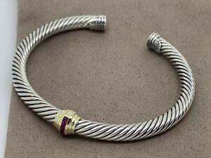 David Yurman Cable Classic Single Station 14k Yellow Gold And Rubies Bracelet