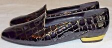 MAGDESIANS, LADIES BLACK CROCCO-EMBOSSED LEATHER LOAFER, SIZE 6 1/2 N, 3 IN. WID