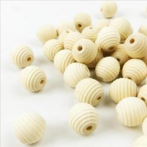 Natürliche Holz Runde Perle Streifen Perle Baby Handwerk Schnuller Clip DIY 18mm