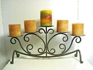 vtg brown Wrought Iron Pillar Candle center piece tabletop candelabra display