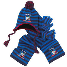 BLUE THOMAS THE TANK ENGINE KNITTED BOBBLE HAT SCARF GLOVES SET 2-6 Y XMAS GIFT