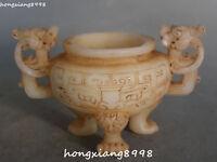 Unique China Old Jade Carving Dragon Loong Beast Animal Incense Burner Censer
