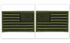 USA AMERICAN FLAG TACTICAL PATCH Set of 2 US ARMY BADGE Olive Drab HOOK & LOOP
