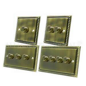 Georgian Antique Brass Dimmer 400W - 10 Amp 1 Gang 2G 3G 4G 2 Way Dimmer Switch