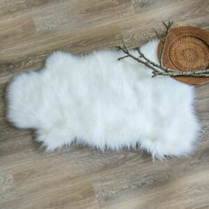 Ashler Soft Faux Sheepskin Fur Chair Couch Cover White Area Rug Bedroom Floor So