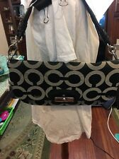 New Coach Black Kristin Op Art Signature Flap Sateen Leather Shoulder Bag 14788