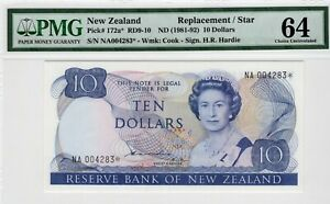 1981-92 New Zealand 10 Dollars P 172a*  REPLACEMENT / Star PMG 64 Ch Unc