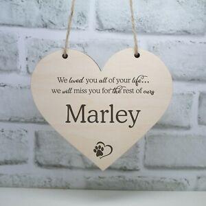 Memorial Plaque For Pet Cat Dog Wooden Heart Hanger Pet Loss