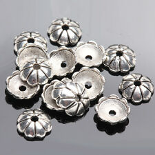 100Pcs Flower Round Tibet Silver Spacer Bead Caps Jewelry DIY Crafts Making 6mm