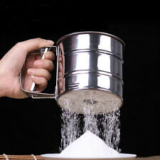 Mechanical Flour Sugar Icing Mesh Sieve Sifter Shake Baking Stainless Steel Ja
