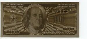 Billete de Oro planchado 100 Dollars 1999 Gold 9999 24 K Muy Bonito Ref.460