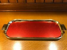 VINTAGE 1960s RED & GOLD ANODISED ALUMINIUM COCKTAILS/DRINKS SERVING TRAY