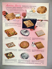 American Beauty Compacts 2-Page CATALOG AD PAGE - 1957 ~ makeup accessories