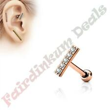 Surgical Steel Rose Gold Tragus/Cartilage Stud with 9 mm CZ Gem Lined Long Bar