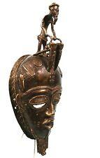 Art African tribal - Superb Mask Bronze - Messenger Baoulé - 34 CMS