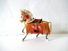 Vintage Japanese White Samurai Horse with Orange Trim